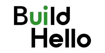 Build Hello logo for web design firm in Seattle with green UI lettering implying 'should I build my own website?'