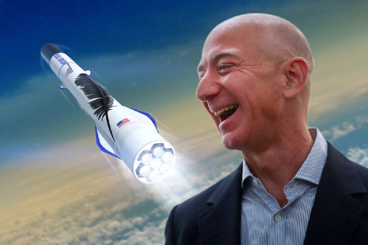 Jeff Bezos laughing with rocket in the background